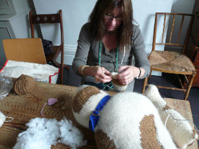 Battersea Dog Blanket Knitting Pattern : KNITTED STAFFIE FOR BATTERSEA DOG S HOME Muir & Osborne