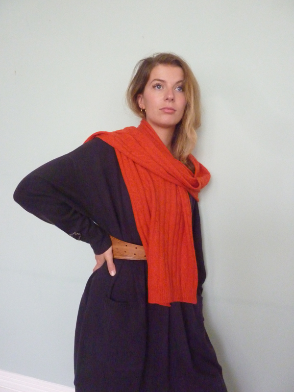 Cable Cashmere Scarf in Burnt Orange