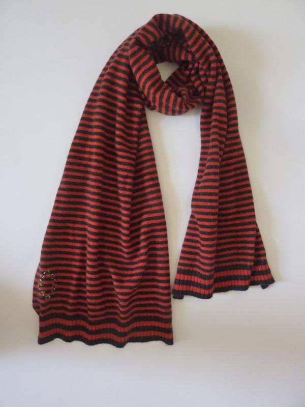 Striped Cashmere Scarf in OrangeCharcoal